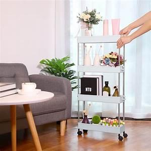 Slim, Gap, Storage, Organizer, Rack, Shelf, With, Wheels, 4, Tiers, Storage, Rack, Shelf, For, Bathroom