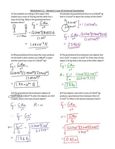 of universal gravitation worksheet worksheets for all