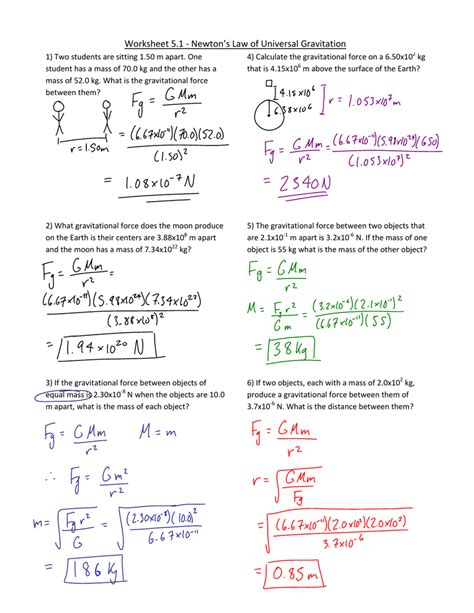 Universal Gravitation Worksheet Resultinfos