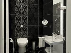 Modern black and white bathroom wallpaper 4 home ideas for Black and white modern bathroom