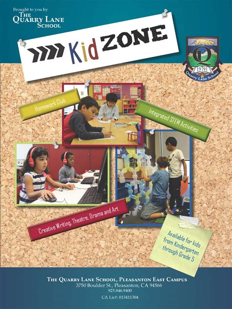 kid zone before amp after school care the quarry school 429 | Kid Zone Info Packet Cover
