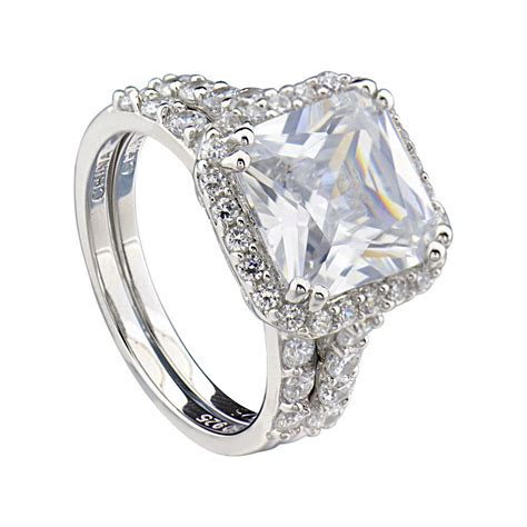 sterling silver cushion cut cubic zirconia engagement wedding ring ebay