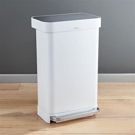 simplehuman  liter gallon white rectangular step  reviews crate  barrel