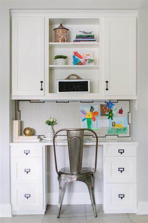 Kitchen Desk Backsplash Ideas by Kitchen Desk With Linen Nailhead Pin Board Backsplash