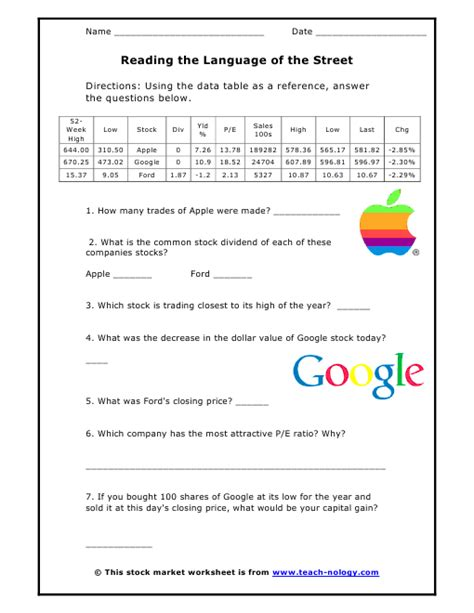 stock market math worksheets reading the language of
