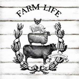 Vintage Farm Animal Stack Large Black and White Instant ...