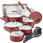 paula deen porcelain cookware set  piece nonstick review