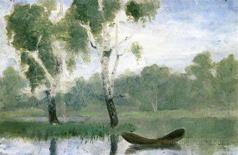 Lake Boats Small by Small Lake With Boat Edvard Munch Paintings