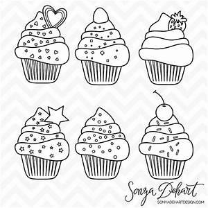 Cupcake Clipart, Digital Stamps, Line Art, Cupcake Clip ...