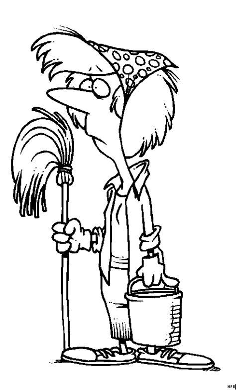 einsame putzfrau ausmalbild malvorlage comics
