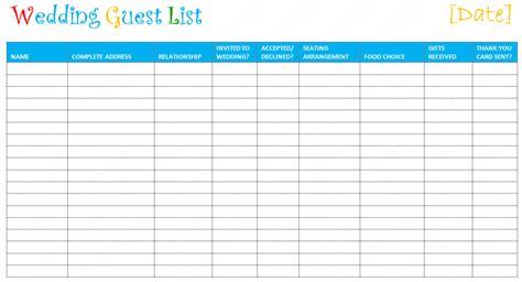 editable wedding guest list templates document