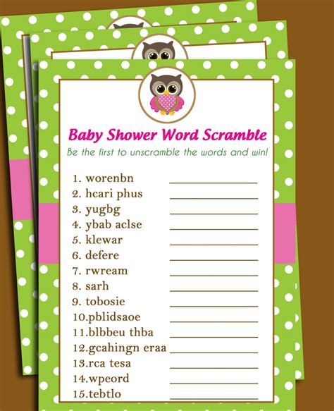 word for shower 50 sale owl baby shower word scramble printable