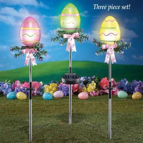 set of 3 solar powered lighted outdoor easter egg stakes