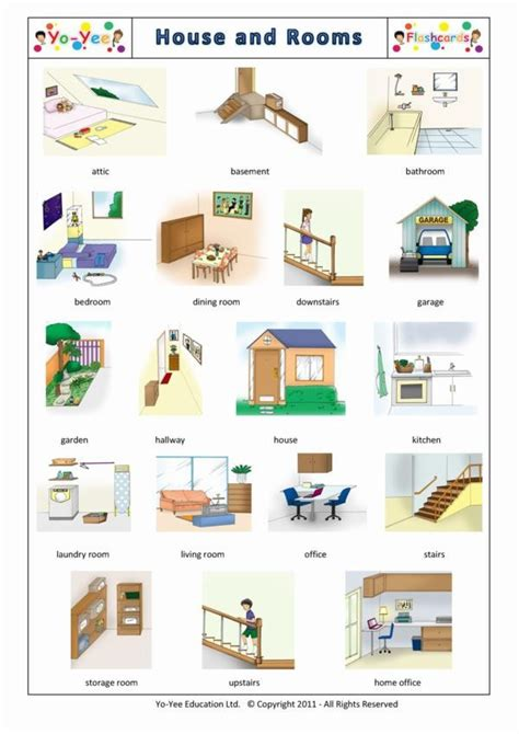 house  rooms flashcards  kids maison  chambres