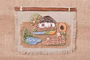 Tissus Decoration Murale : madeheart d coration murale fait main id e d co int rieur en tissu et argile cadeau ~ Nature-et-papiers.com Idées de Décoration
