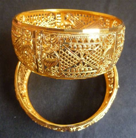 south 22k gold plated 2 bangles bracelets filigree net 1 broad 2 2 size ebay