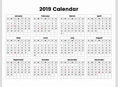 Year 2019 Holidays Calendar swifteus