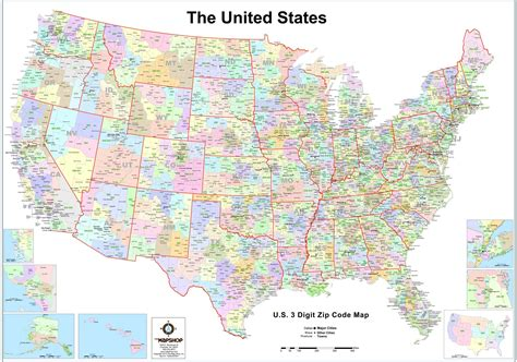 united states  digit zip code wall map  map shop