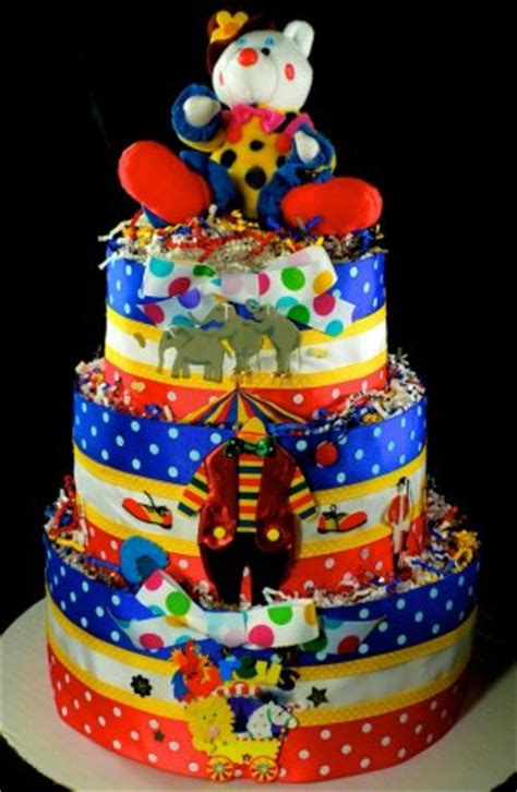 tier circus clown diaper cake baby shower centerpiece