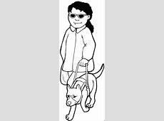 Blinde Frau Mit Blindenhund Ausmalbild & Malvorlage Hund