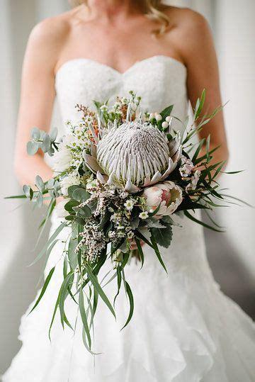 Native Bridal Bouquet King Protea Gum Foliage Silver