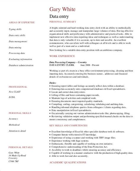 Data Entry Specialist Description For Resume by Data Entry Resume 5 Free Word Pdf Documents