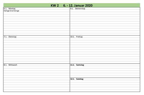 Vorlage Pdf by Wochen Kalender 2020 Excel Vorlagen F 252 R Jeden Zweck