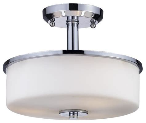 three light chrome matte opal glass drum shade semi flush