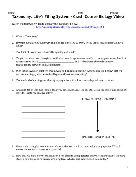taxonomy worksheet