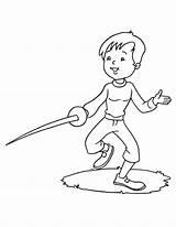 Fencing Coloring Practice sketch template