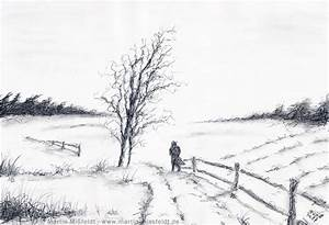Pencil Drawings | Winter landscape - Pencil drawing | My ...