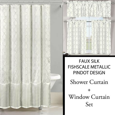 Shower Curtain Set - ivory white shower curtain and 3 pc window curtain set