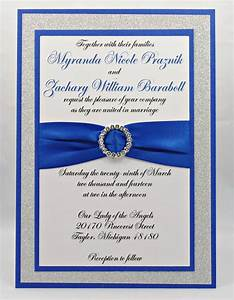 stunning royal blue silver glitter wedding invitation With royal blue and red wedding invitations