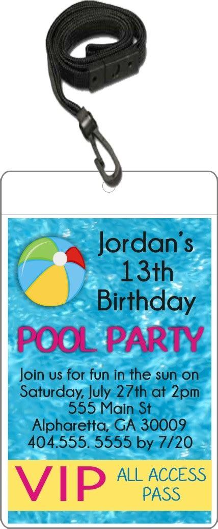 pool party vip pass invitation  lanyard custom colors