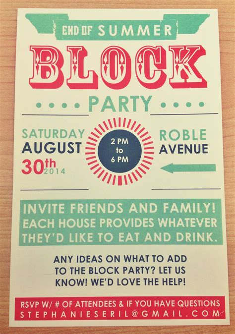 summer invite typography Google Search Block party
