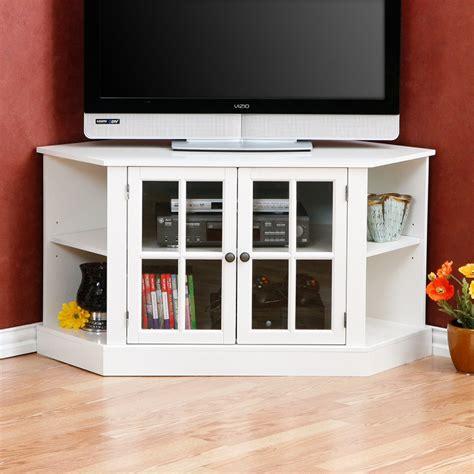 Furniture White Corner Tv Stand With Glass Media Cabinet