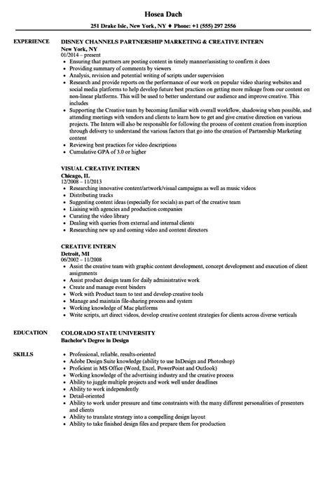 creative intern resume sles velvet
