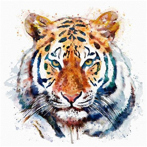 Watercolor Portrait Beautiful Tiger Head For Instant