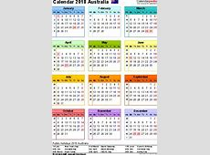 Calendar 2018 With Holidays Australia printable yearly
