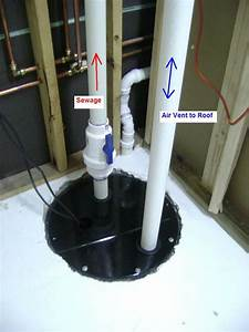 How to finish a basement bathroom sewage basin vent pipe for Bathroom pumps for basements