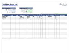 wedding guest list free wedding guest list template