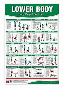 Bodyweight Training Poster  Chart - Lower Body  Body Weight Training - Leg Workout