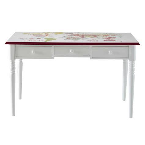 bureau bois blanc bureau en bois blanc l 130 cm pinkplanet maisons du monde