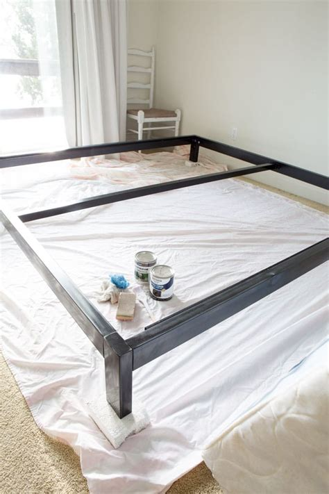 metal platform bed simple diy headboard for the guest room in my own style