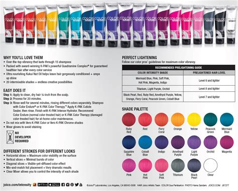 joico fashion colors joico color intensity fact sheet confessions of a