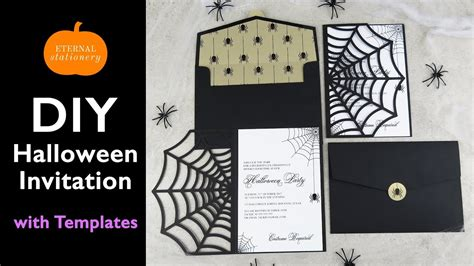 diy halloween invitation card cobweb invitations