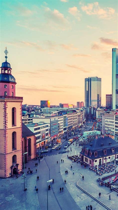 frankfurt square germany cityscape iphone  wallpaper hd