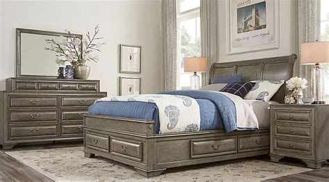 mill valley ii gray  pc king sleigh bedroom  storage