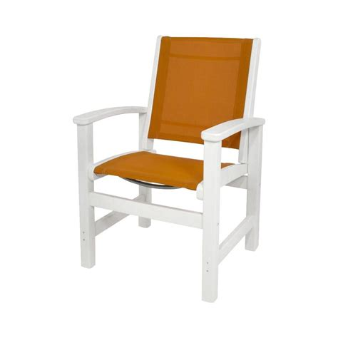 polywood white citrus sling coastal patio dining chair