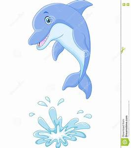 Cute Cartoon Dolphin Jumping Out Of Water Stock Vector ...